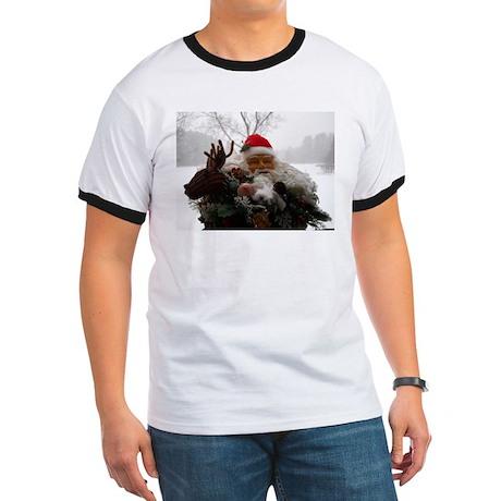 Santa Peeking Over T-Shirt