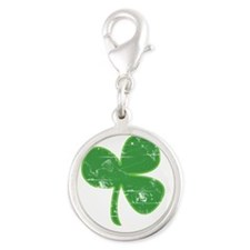 Distressed Vintage Clover St Patricks Day Silver R