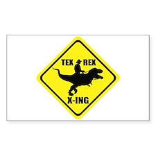 Cowboy On T-Rex - Tex Rex X-ING Sign Decal