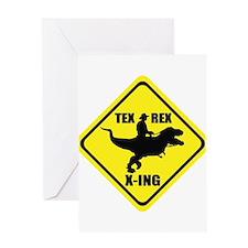 Cowboy On T-Rex - Tex Rex X-ING Sign Greeting Card