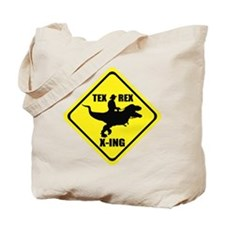 Cowboy On T-Rex - Tex Rex X-ING Sign Tote Bag