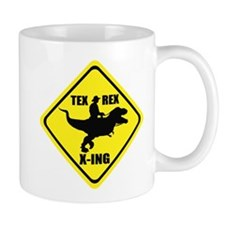 Cowboy On T-Rex - Tex Rex X-ING Sign Mug