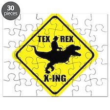 Cowboy On T-Rex - Tex Rex X-ING Sign Puzzle