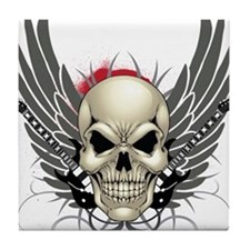 Skull, guitars, and wings Tile Coaster