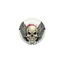 Skull, guitars, and wings Mini Button (10 pack)