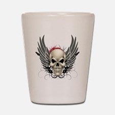 Skull, guitars, and wings Shot Glass
