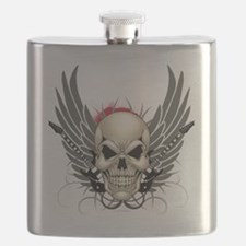 Skull, guitars, and wings Flask