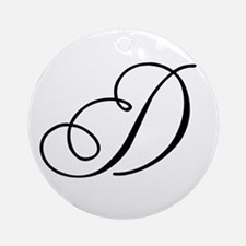 Champagne Monogram D Ornament (Round)