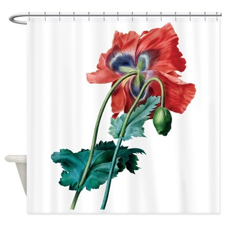 Red Poppy Shower Curtain by be inspired by life