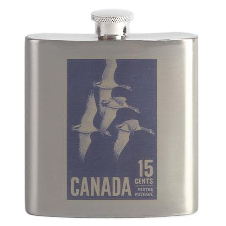 Vintage 1963 Canada Goose Postage Stamp Flask