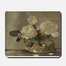 Vintage Painting of White Roses Mousepad