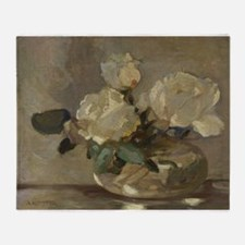 Vintage Painting of White Roses Throw Blanket