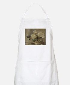Vintage Painting of White Roses Apron