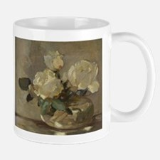 Vintage Painting of White Roses Mug