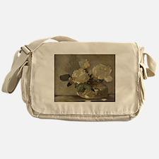 Vintage Painting of White Roses Messenger Bag