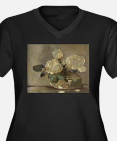 Vintage Painting of White Roses Plus Size T-Shirt