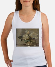 Vintage Painting of White Roses Tank Top