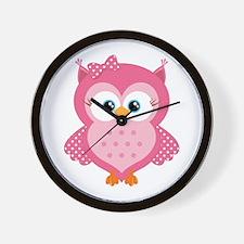 Sweet Pink Cartoon Owl Wall Clock