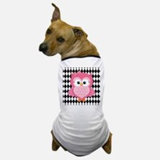 Cute Pink Owl on White and Black Dog T-Shirt