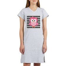 Cute Pink Owl on White and Black Women's Nightshir