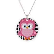 Cute Pink Owl on White and Black Necklace