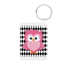 Cute Pink Owl on White and Black Keychains