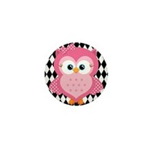 Cute Pink Owl on White and Black Mini Button