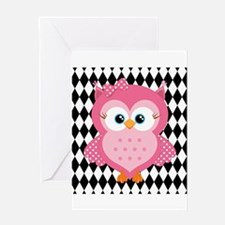 Cute Pink Owl on White and Black Greeting Card
