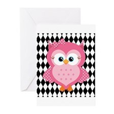 Cute Pink Owl on White and Black Greeting Cards (P