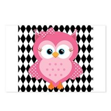 Cute Pink Owl on White and Black Postcards (Packag