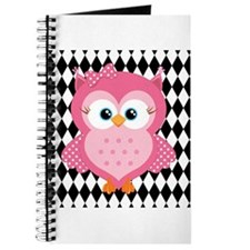 Cute Pink Owl on White and Black Journal