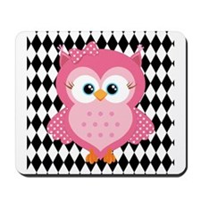 Cute Pink Owl on White and Black Mousepad