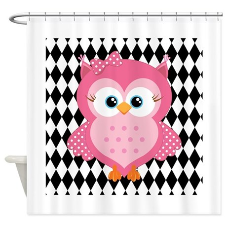 Cute Pink Owl On White And Black Shower Curtain By