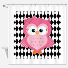 Cute Pink Owl on White and Black Shower Curtain