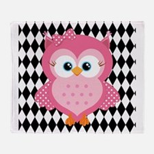 Cute Pink Owl on White and Black Throw Blanket