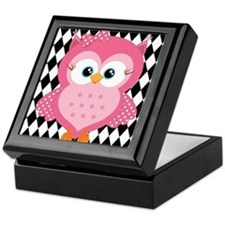 Cute Pink Owl on White and Black Keepsake Box
