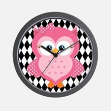 Cute Pink Owl on White and Black Wall Clock