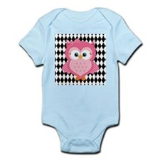 Cute Pink Owl on White and Black Body Suit
