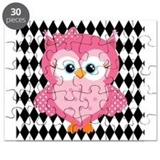 Cute Pink Owl on White and Black Puzzle