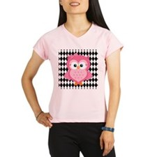 Cute Pink Owl on White and Black Peformance Dry T-