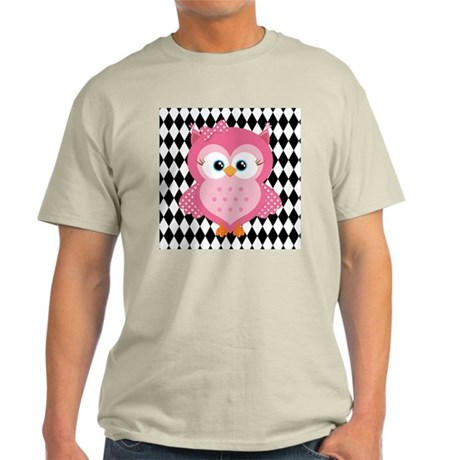 Cute Pink Owl on White and Black T-Shirt