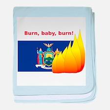 New York State Flag Burn baby blanket