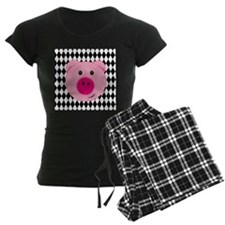 Cute Pink Pig on Retro Diamond Background Pajamas