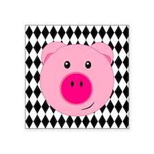 Cute Pink Pig on Retro Diamond Background Sticker
