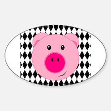 Cute Pink Pig on Retro Diamond Background Decal