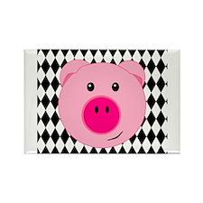 Cute Pink Pig on Retro Diamond Background Rectangl