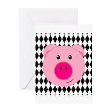 Cute Pink Pig on Retro Diamond Background Greeting