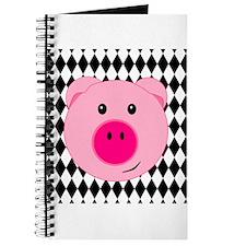 Cute Pink Pig on Retro Diamond Background Journal