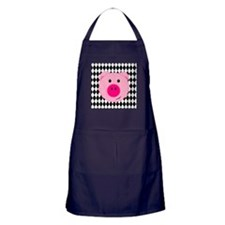 Cute Pink Pig on Retro Diamond Background Apron (d
