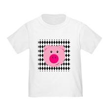 Cute Pink Pig on Retro Diamond Background T-Shirt